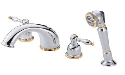 Danze D302755CPBV Sheridan Two Handle Roman Tub Faucet with Soft Touch Personal Shower, Chrome