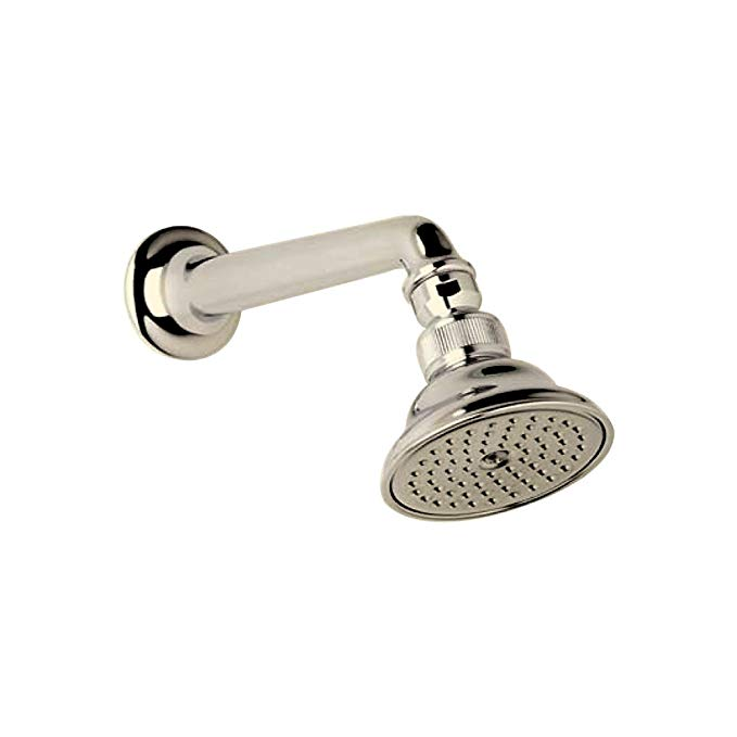 Rohl C5504EPN Perletto 3-in Anti-Cal Single Function Showerhead with 7-in Shower Arm, Polished Nickel