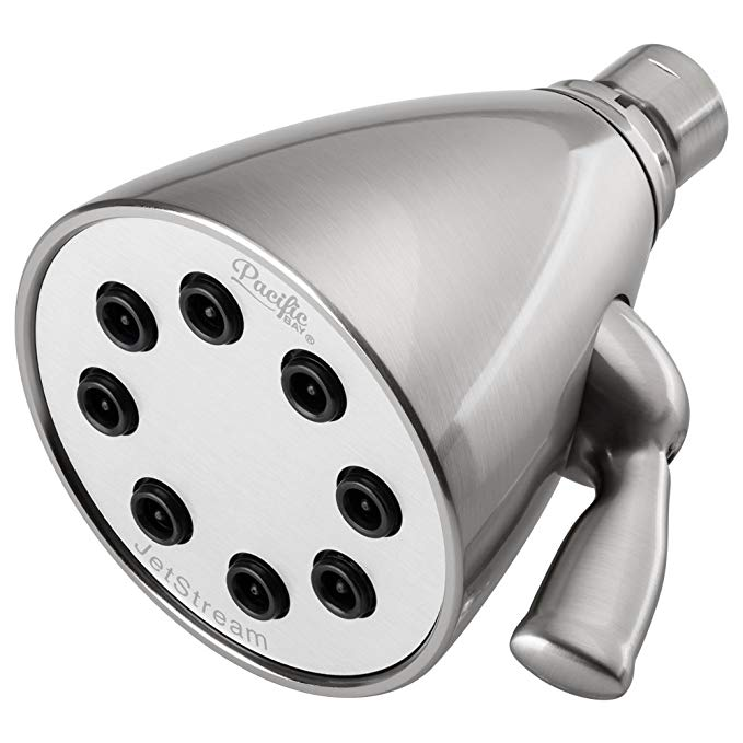 JetStream 8-Jet Shower Head by Pacific Bay (Brushed Satin Nickel) - With Quick Adjusting Jets, High-Pressure Stream, Gliding Brass Ball Joint, and Flow Control Knob - New 2018 Model
