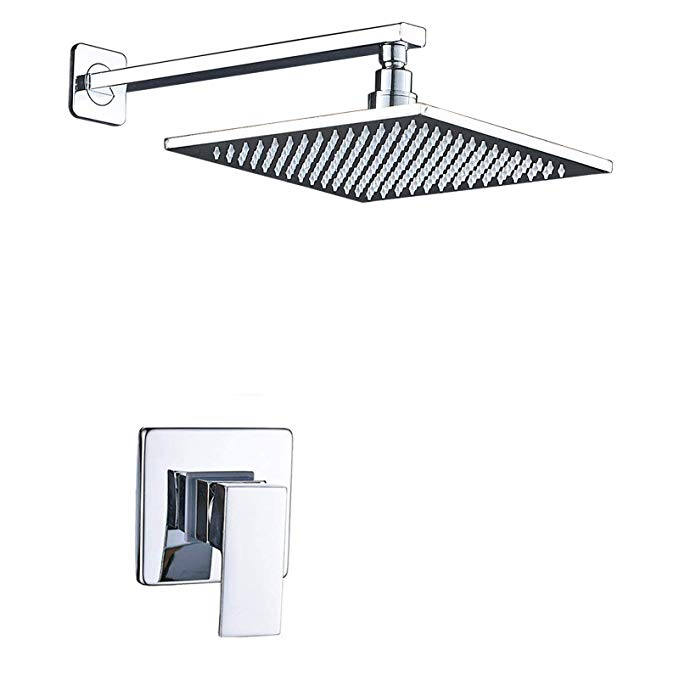 Senlesen 10 inch Square Rain Mixer Shower Combo Set Top Rainfall Shower Head Mixer Valve System Chrome