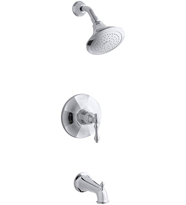 Kohler TS13492-4-CP Rite-Temp Bath & Shower Valve Trim with Lever Handle, Spout & 2.5 Gpm Showerhead