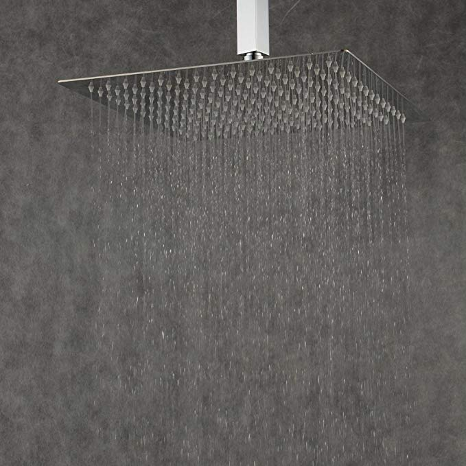 Beelee 16 Inch Ultra Rain Stainless Steel Square Shower Head, Polished Chrome Finish