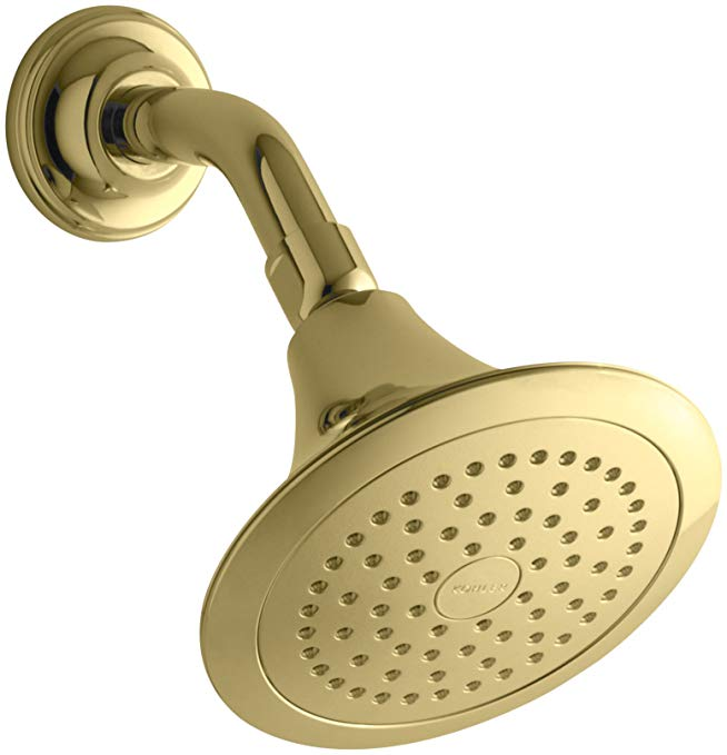 KOHLER 10282-AK-PB Forte 2.5 Gpm Single-Function Wall-Mount Showerhead with Katalyst Spray, Vibrant Polished Brass