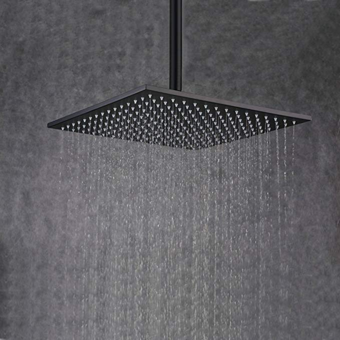 Beelee 16 Inch Rainfall Square Bathroom Stainless Steel Shower Head Ceiling Mount, Oil Rubbed Bronze